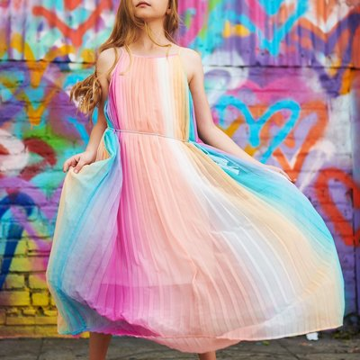 TRULY ME RAINBOW PLEATED DRESS