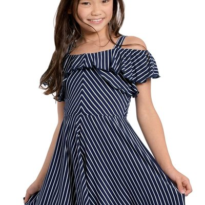 TRULY ME FIT AND FLARE RUFFLE STRIPE DRESS
