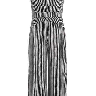 TRULY ME STRIPE JUMPSUIT W/ SIDE SLITS