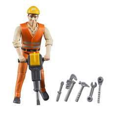 BRUDER CONSTRUCTION WORKER W/ACCESSORY
