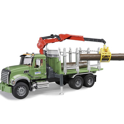 BRUDER MACK GRANITE TIMBER TRUCK W LOADING CRANE AND 3 TRUNKS