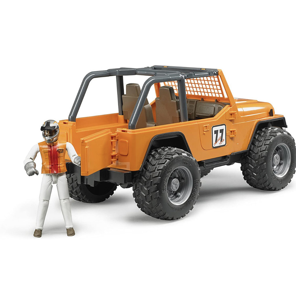 BRUDER JEEP CROSS COUNTRY RACER WITH ORANGE DRIVER