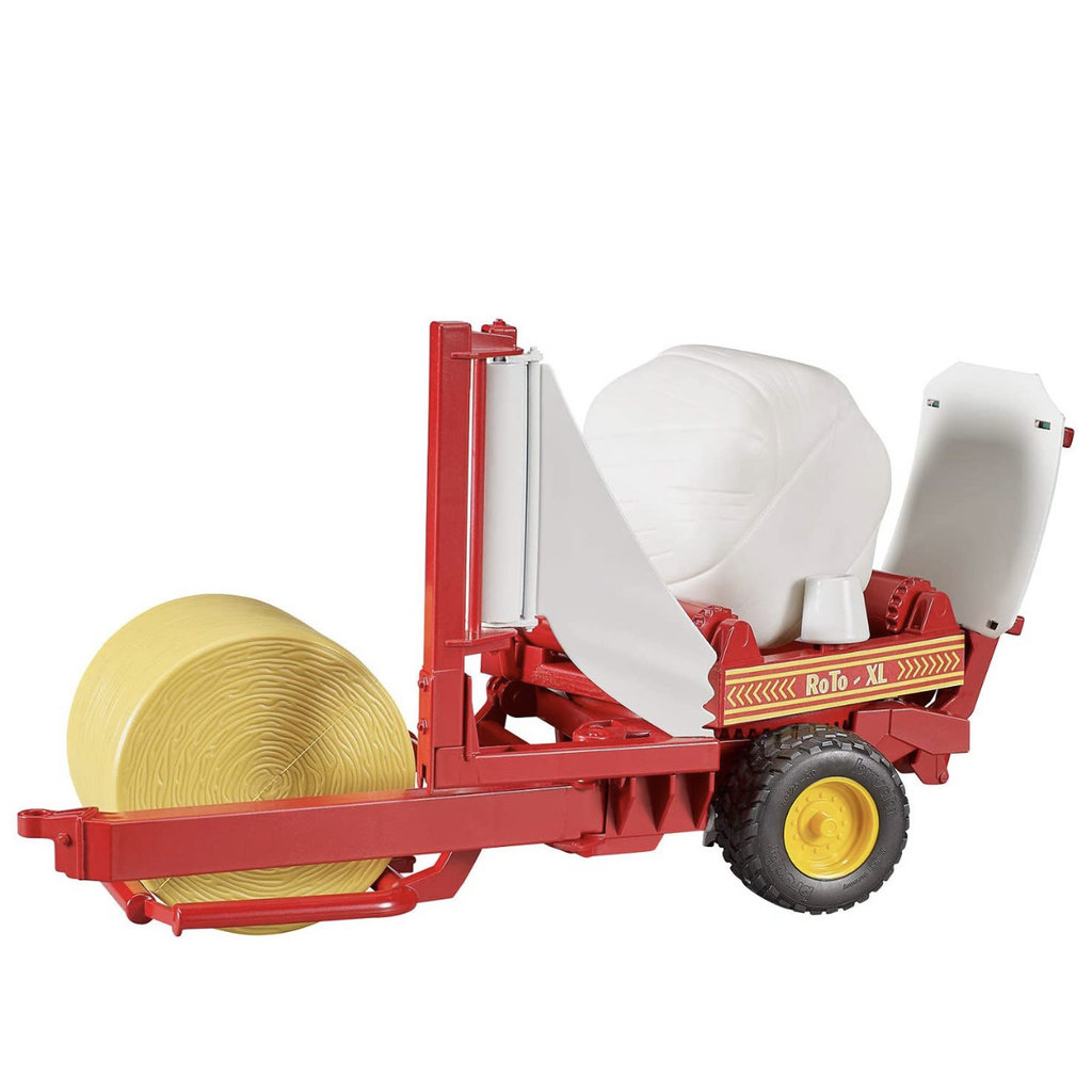 BRUDER BALE WRAPPER WITH YELLOW AND BLACK ROUND BALES