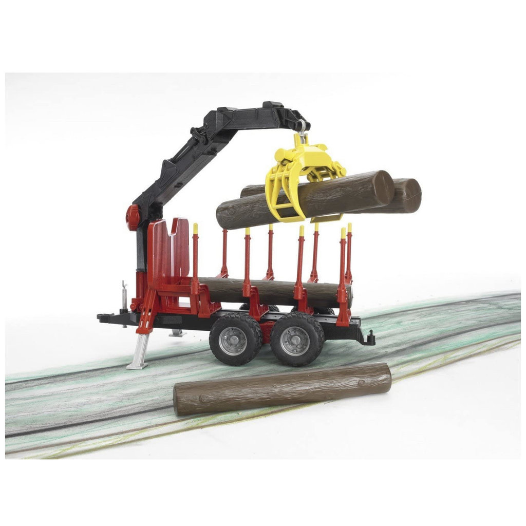 BRUDER FORESTRY TRAILER WITH CRANE, GRAPPLE AND 4 LOGS