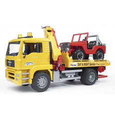 BRUDER MAN TGA TOW TRUCK W CROSS COUNTRY VEHICLE