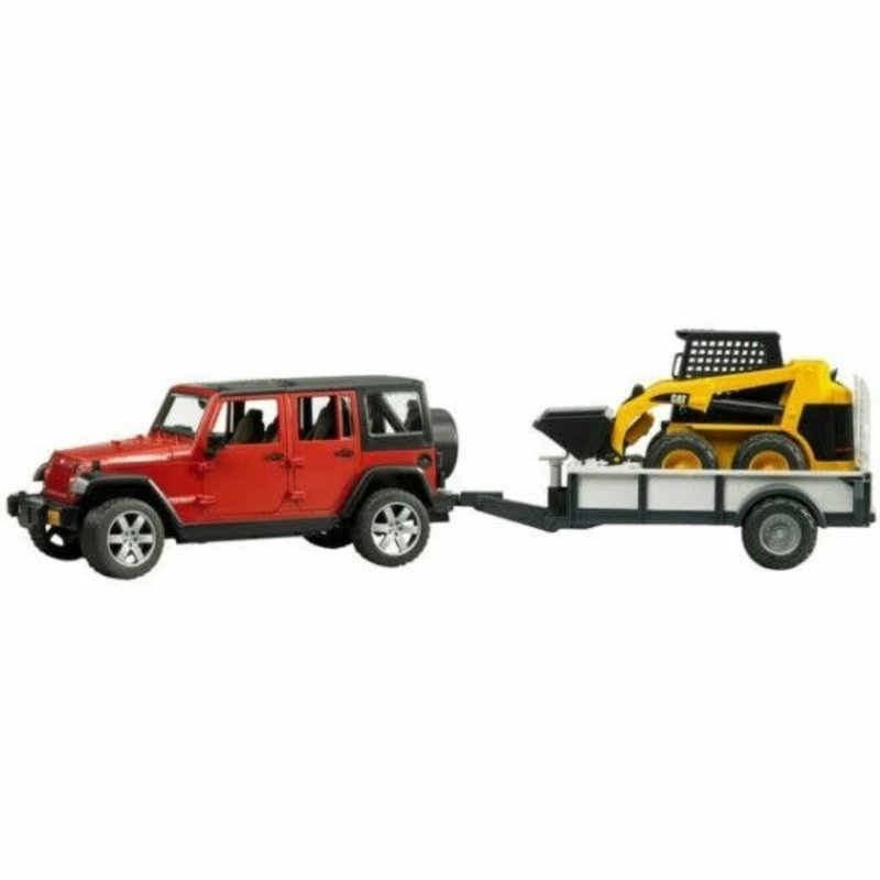 BRUDER JEEP WRANGLER UNLIMITED RUBICON W TRAILER AND CAT SKID STEER