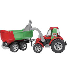 BRUDER TRACTOR W FRONT LOADER AND REAR TIPPER TRAILER