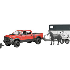 BRUDER RAM 2500 POWER PICK UP WITH HORSE TRAILER AND HORSE