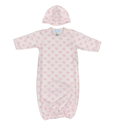 BEBE A MOI GOWN AND HAT SET- PINK HEART