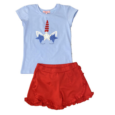 HAVENGIRL USA UNICORN TEE & RUFFLE SHORT