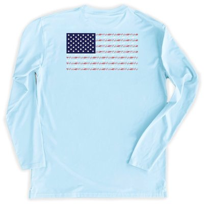 COASTAL COTTON CLOTHING YOUTH SKY AMERICAN FLAG LS PERFORMANCE TEE