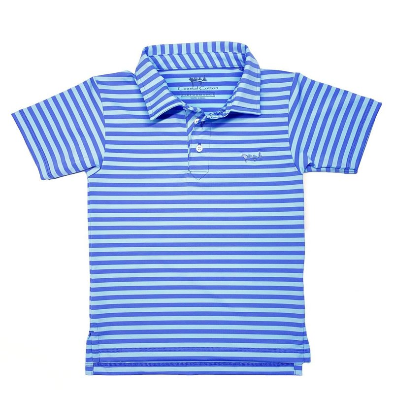 COASTAL COTTON CLOTHING YOUTH PERIWINKLE AND STARLIGHT PERFORMANCE POLO