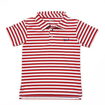 COASTAL COTTON CLOTHING YOUTH RED, WHITE, AND BLUE PERFORMANCE POLO