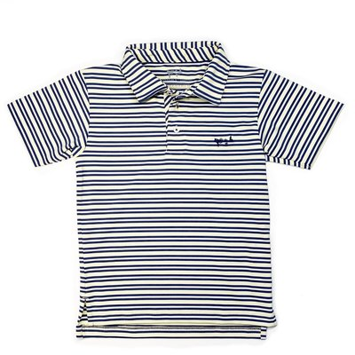 COASTAL COTTON CLOTHING YOUTH YELLOW AND INDIGO PERFORMANCE POLO