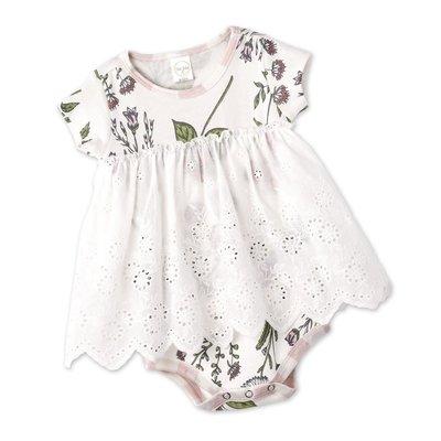 TESA BABE PRAIRIE FLOWERS EYELET SKIRTED BODYSUIT