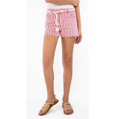TRACTOR JEANS MID-RISE STRIPED SHORTS