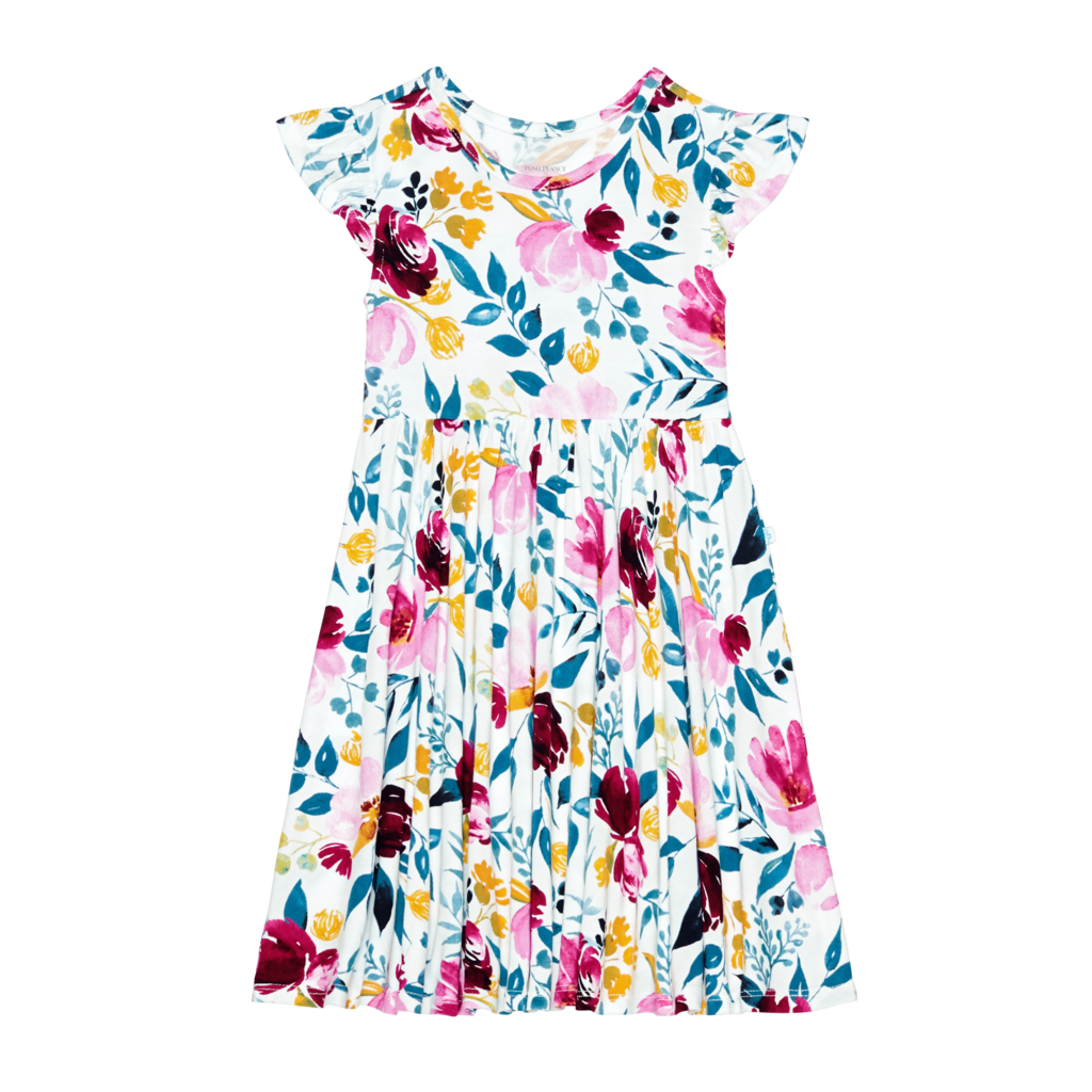 POSH PEANUT JOZIE - RUFFLED CAPSLEEVE TWIRL DRESS
