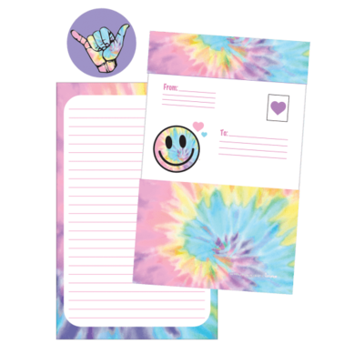 ISCREAM PASTEL TIE DYE FOLDOVER CARDS WITH STICKERS- 8PK