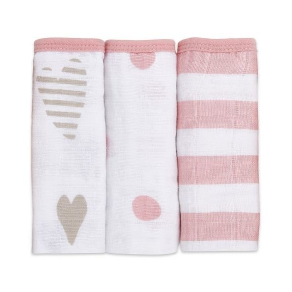 ADEN + ANAIS 3PK WASHCLOTH SET - HEART BREAKER