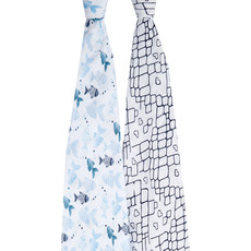 ADEN + ANAIS COTTON MUSLIN SWADDLE 2PK GONE FISHING