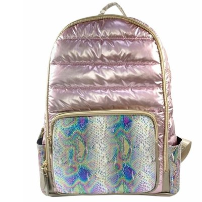 BARI LYNN FAUX SNAKESKIN BACKPACK