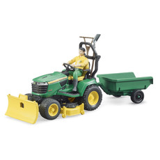 BRUDER JOHN DEERE LAWN TRACTOR WITH TRAILER AND FIGURE