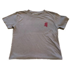 MUSTARD AND KETCHUP KIDS STATE OF MS GRAY SHORT SLEEVE TEE