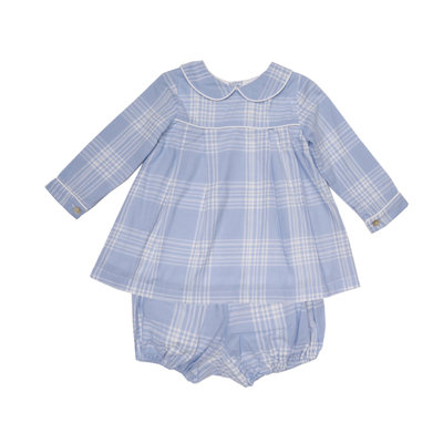 THE OAKS APPAREL COMPANY LAUREN BLUE PLAID LS BLOOMER SET