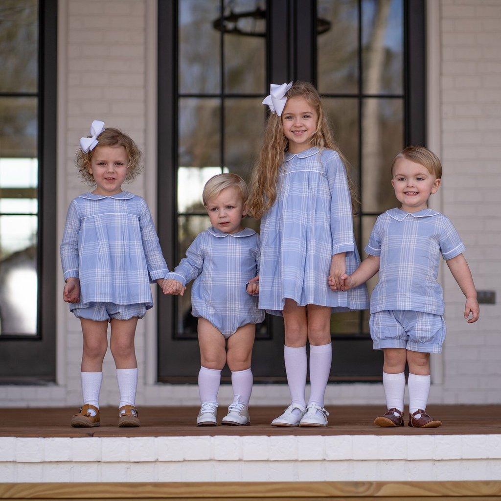 THE OAKS APPAREL COMPANY QUINN BLUE PLAID LS DRESS