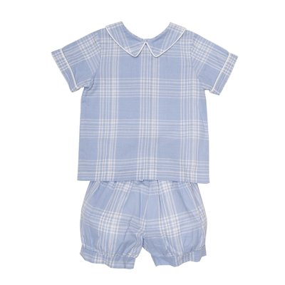 THE OAKS APPAREL COMPANY JAKE BLUE PLAID LS SHORT SET