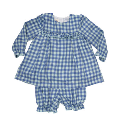 THE OAKS APPAREL COMPANY ALEIGHA BLUE/GREEN CHECK SET
