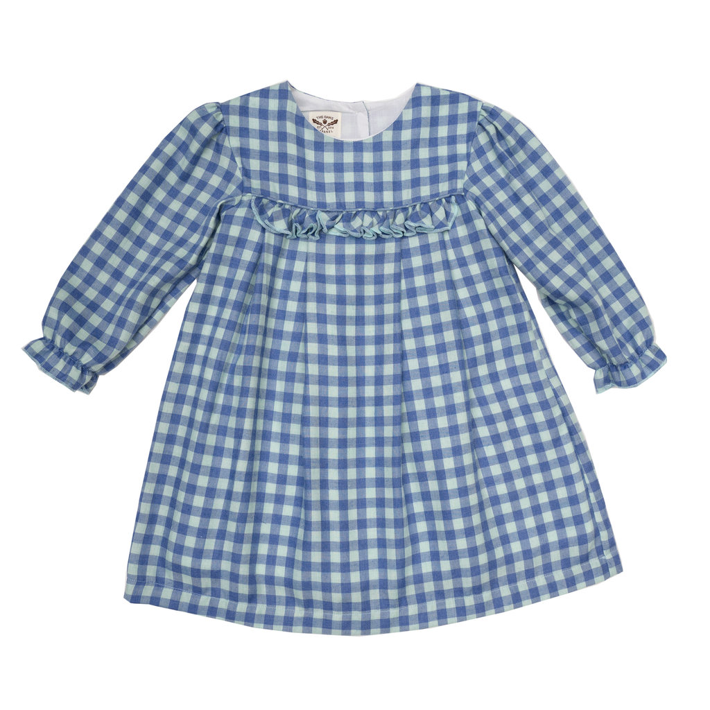 THE OAKS APPAREL COMPANY LOGAN BLUE/GREEN CHECK DRESS