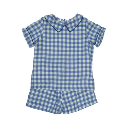 THE OAKS APPAREL COMPANY TATE BLUE/GREEN CHECK SHORT SET