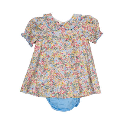 THE OAKS APPAREL COMPANY ASHLYNN LT.BLUE/YELLOW FLORAL BLOOMER SET