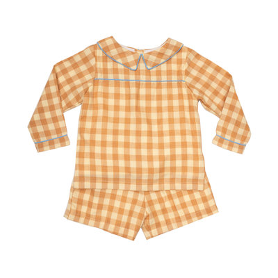 THE OAKS APPAREL COMPANY WALKER MUSTARD CHECK SHORT SET