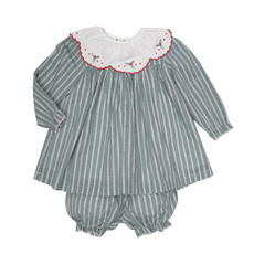 THE OAKS APPAREL COMPANY ELOISE HUNTER GREEN STRIPE BLOOMER SET
