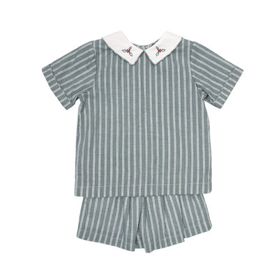 THE OAKS APPAREL COMPANY REID HUNTER GREEN STRIPE SHORT SET