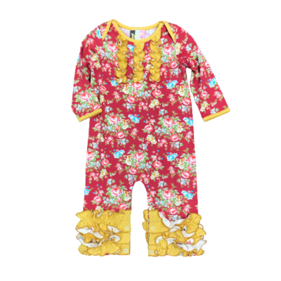 BANANA SPLIT ROSE GARDEN ROUCHED ROMPER
