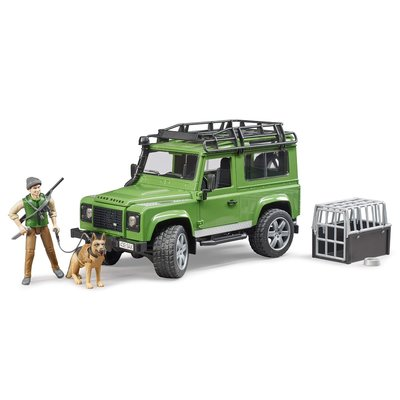 BRUDER LAND ROVER WITH FORESTER AND DOG