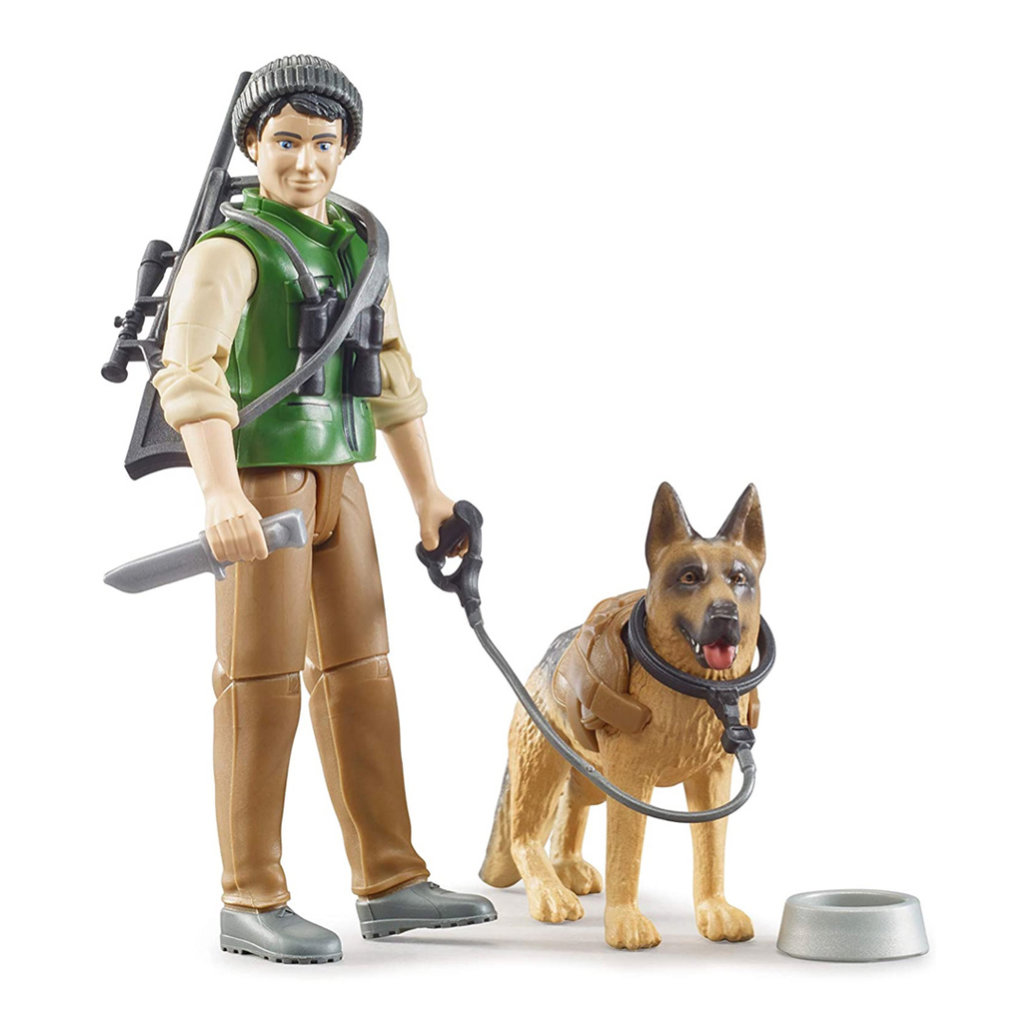 BRUDER BWORLD FORESTER WITH DOG AND ACCESSORIES
