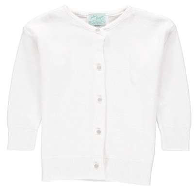 JULIUS BERGER GIRLS COTTON CASHMERE CARDIGAN - WHITE