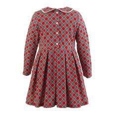 RACHEL RILEY LONDON RED/GREEN TARTAN JERSEY DRESS