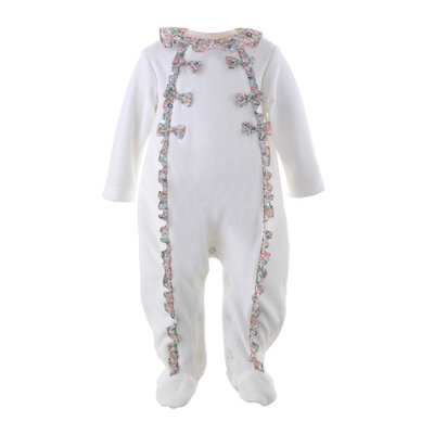 RACHEL RILEY LONDON FLORAL TRIM VELOUR BABYGRO