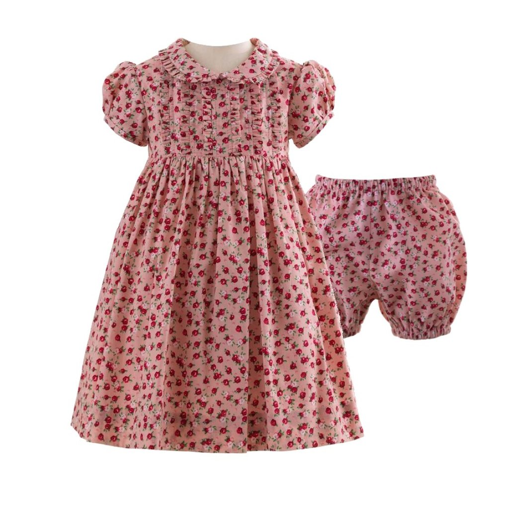 RACHEL RILEY LONDON PINK/RED ROSEBUD FRILL DRESS AND BLOOMERS