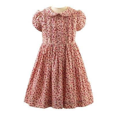 RACHEL RILEY LONDON PINK/RED ROSEBUD FRILL DRESS