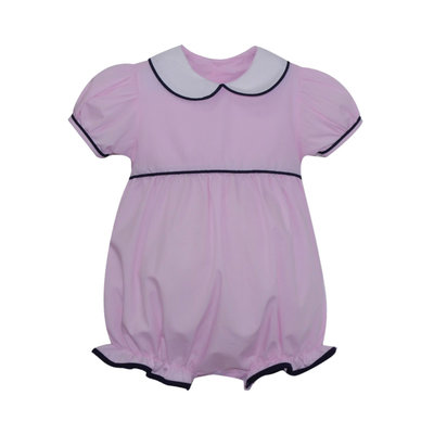 LULLABY SET CHARLESTON BUBBLE- PINK/NAVY MICROCHECK