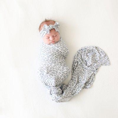 POSH PEANUT MINKA - INFANT SWADDLE AND HEADWRAP SET