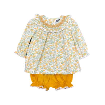 TRUE MUSTARD FLORAL GEO BLOOMER SET