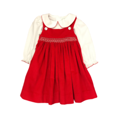 TRUE RED CORD/WHITE SHIRT GEO DRESS
