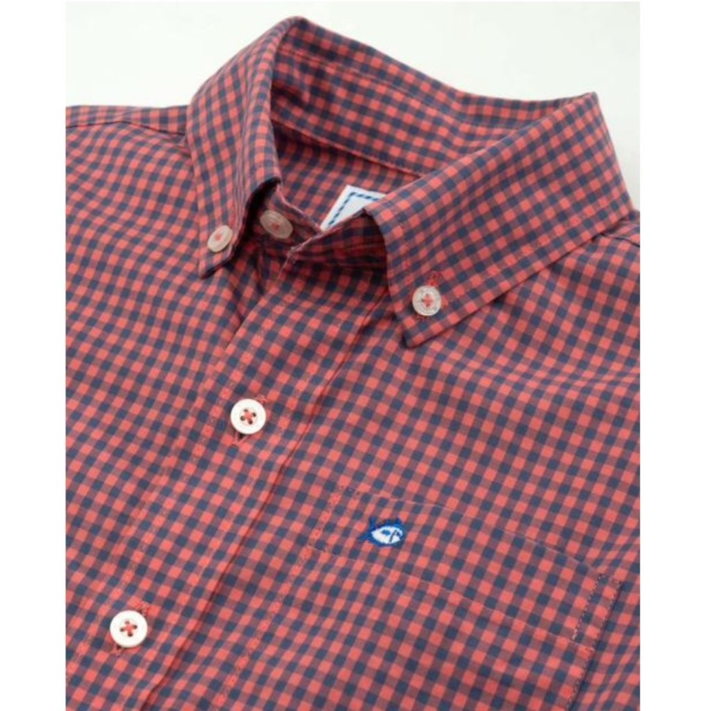 SOUTHERN TIDE YOUTH LS COTTON STRETCH CHECK SPORTSHIRT